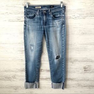 AG Stevie Cuffed Slim Straight Distressed Jeans 26